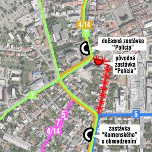 Mapa výluky trolejbusovej dopravy