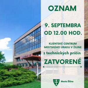 Oznam - Klienstke centrum MsÚ v Žiline