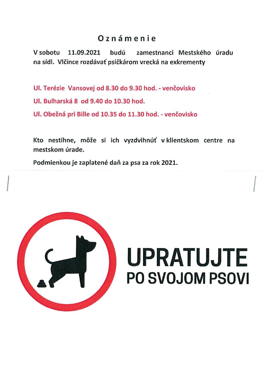 Oznam pre držiteľov psov o akcii na venčoviskách Vlčince