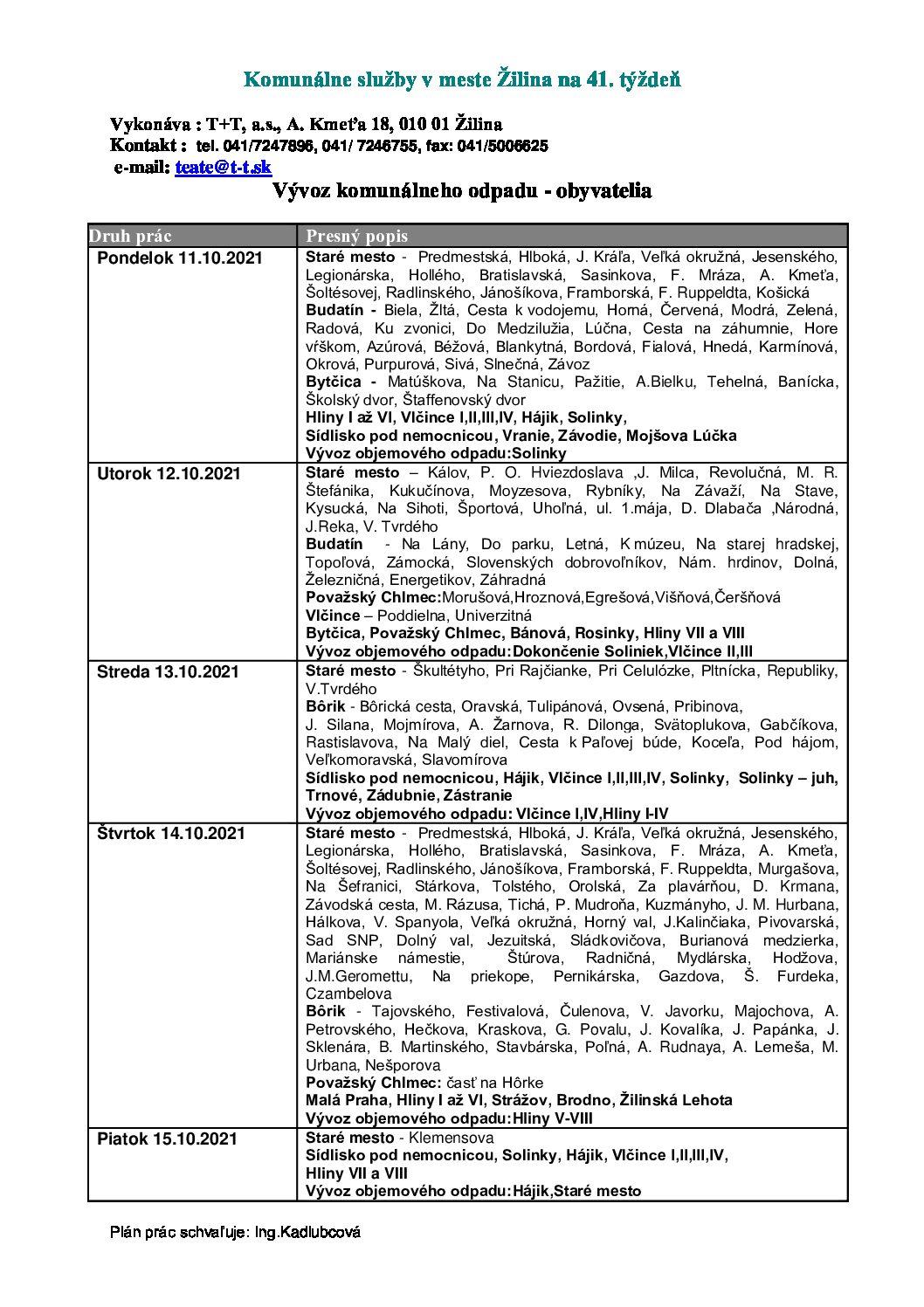 Komunálne služby v meste Žilina na 41. týždeň