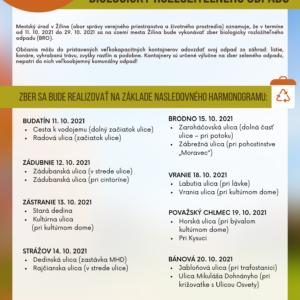 ZBER BIOLOGICKY ROZLOŽITEĽNÉHO ODPADU - 11. - 20. 10. 2021