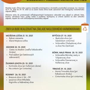 ZBER BIOLOGICKY ROZLOŽITEĽNÉHO ODPADU - 21. - 29. 10. 2021